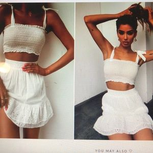 Two piece set. Cropped tank and skirt.
